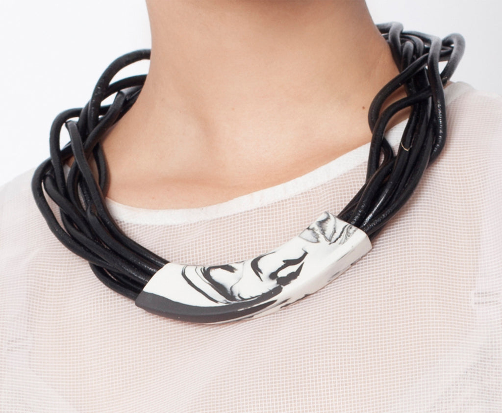 Handmade boho style porcelain necklace  leather cord gift tribal black white