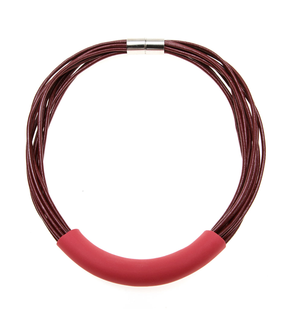 Folami / Fuchsia porcelain tube on red leather cords