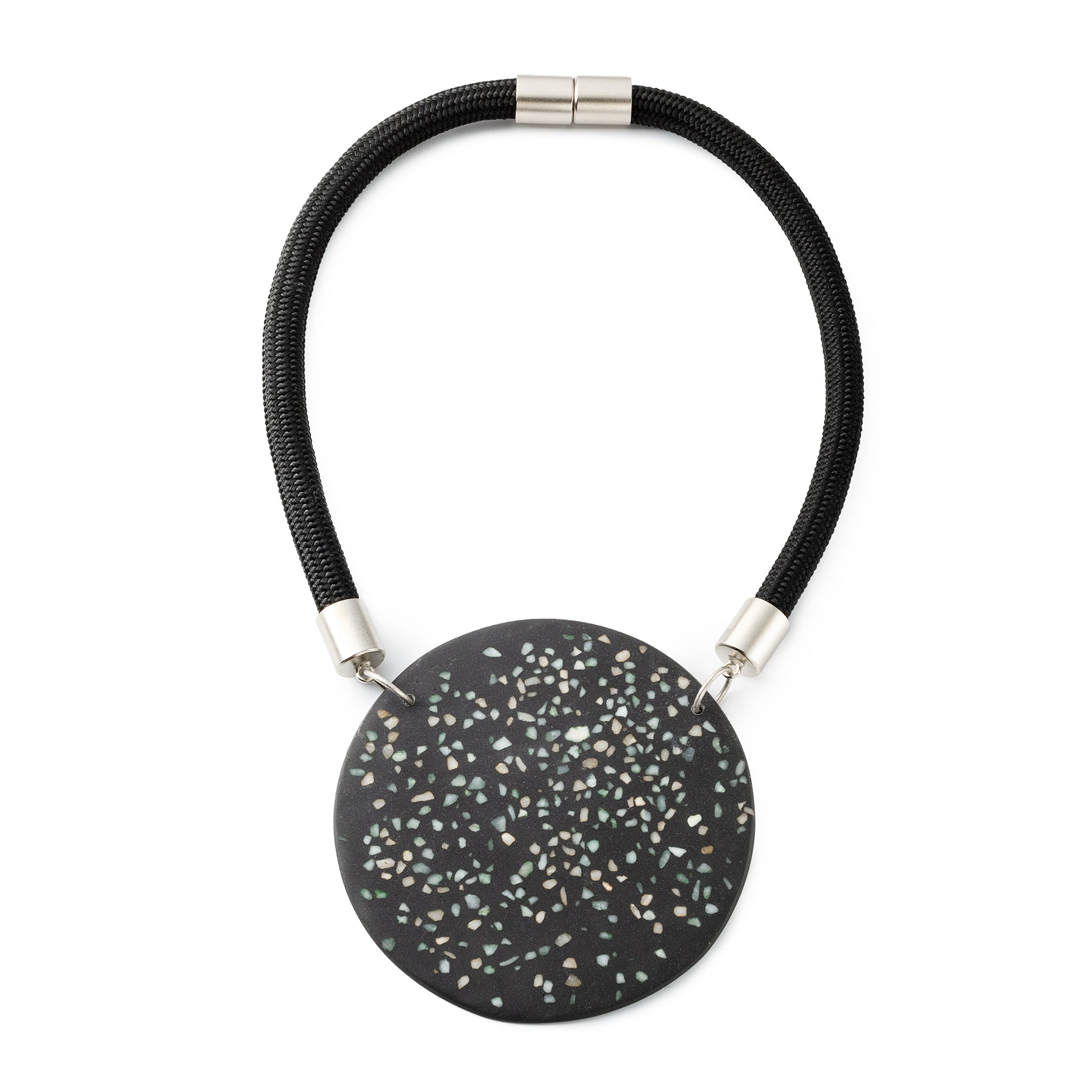 BAAKO / minimalist statement knitted necklace / Black White – Gily Ilan | Fashion accessories and Gifts