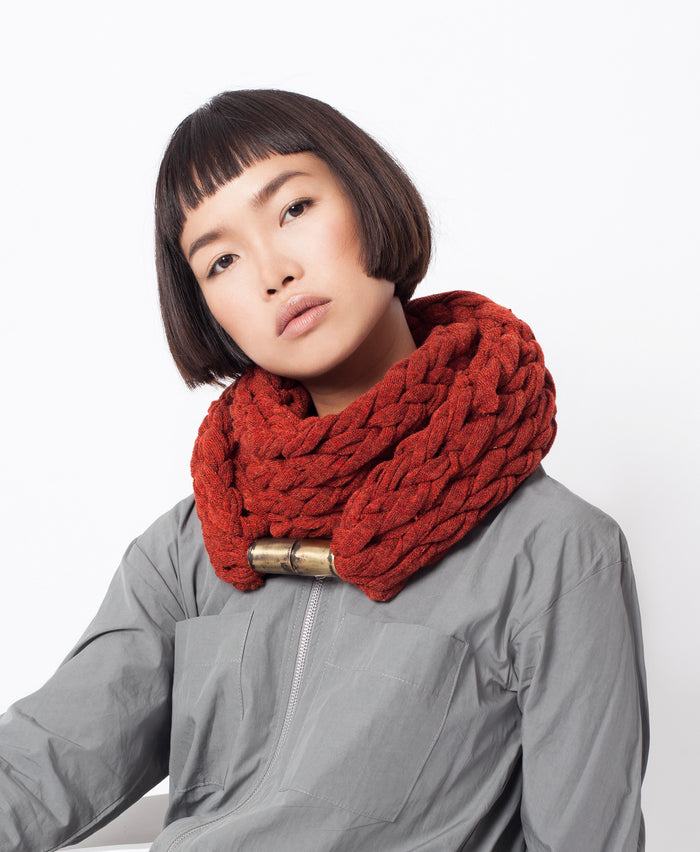KOMO / Brick color Infinity jewelry scarf