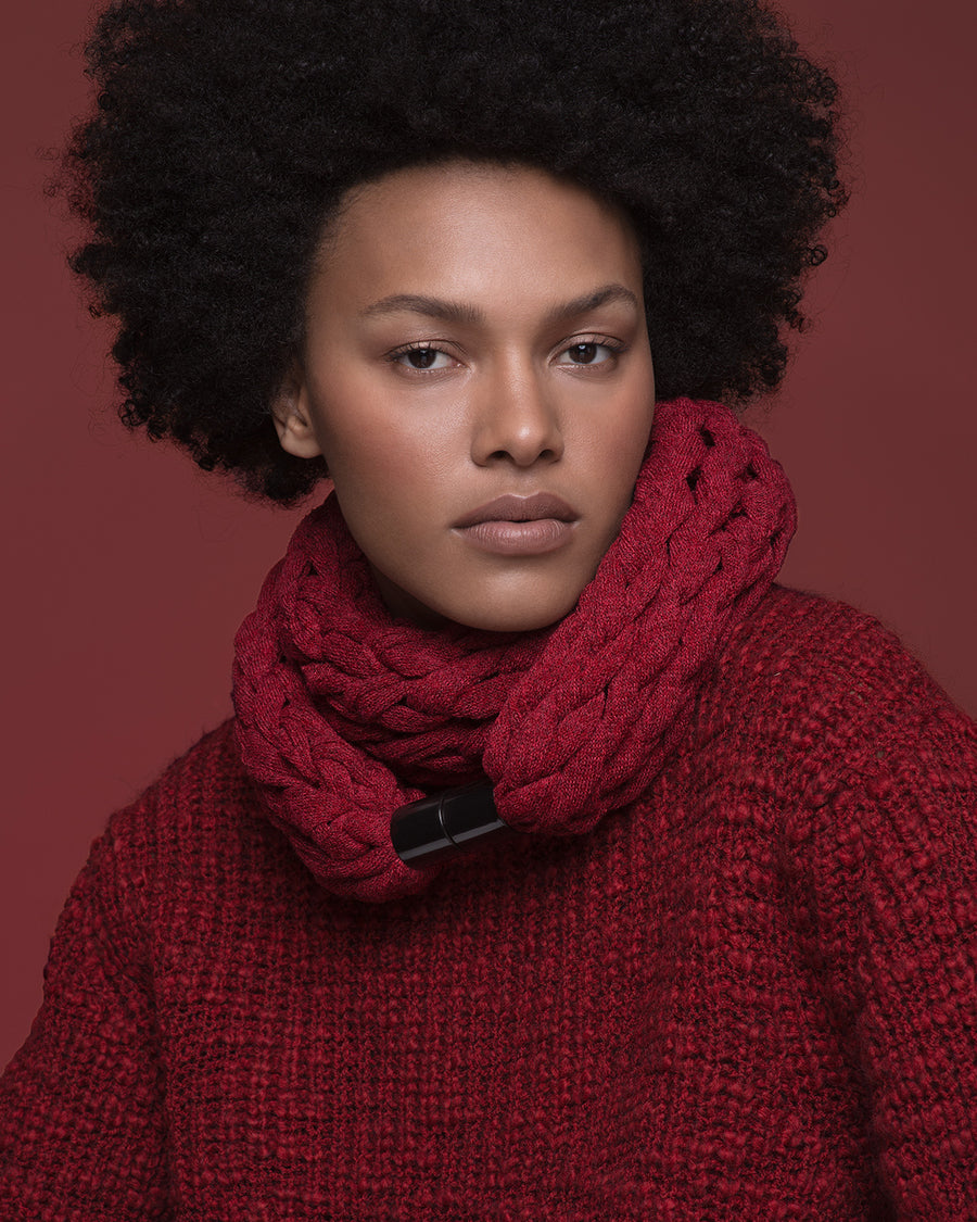 KOMO / Red knitted chunky scarf