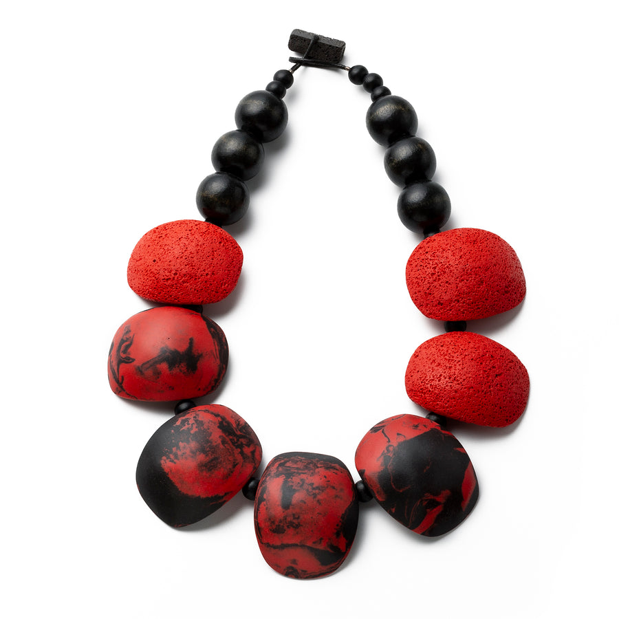 Maya necklace / Red and black