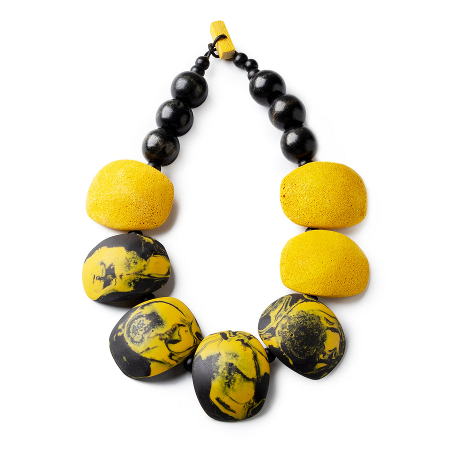 Maya necklace / Yellow and black