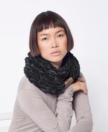Handmade big velvet extra soft Knitted Scarf gift boho knit winter warm grey
