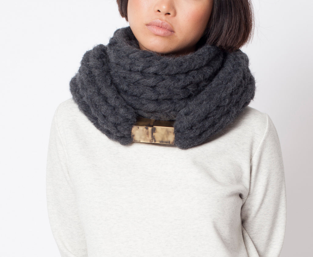 Handmade big extra soft Chunky Knitted Scarf gift boho knit winter warm dark grey