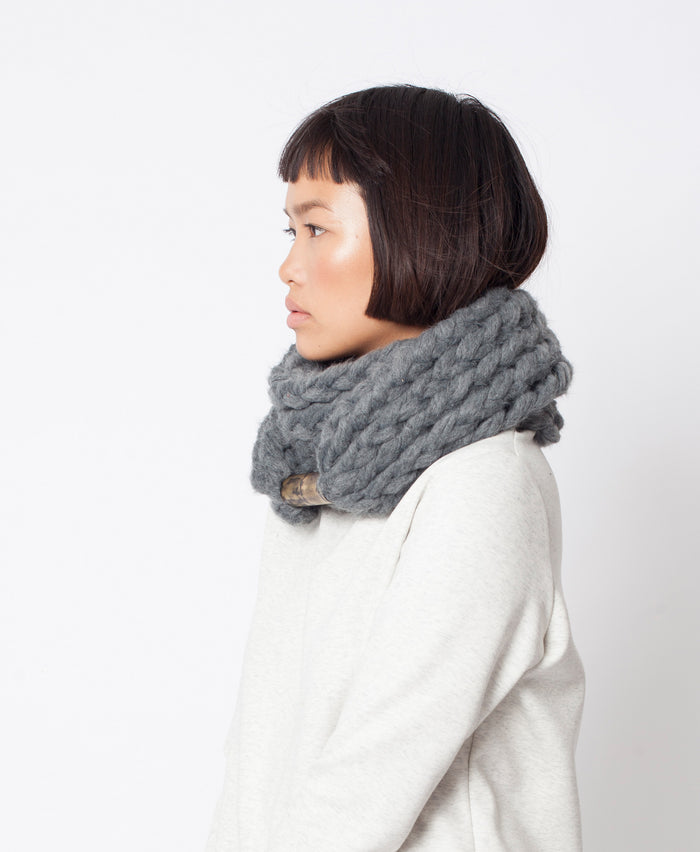 Vito Scarf \ Grey chunky infinity scarf for winter