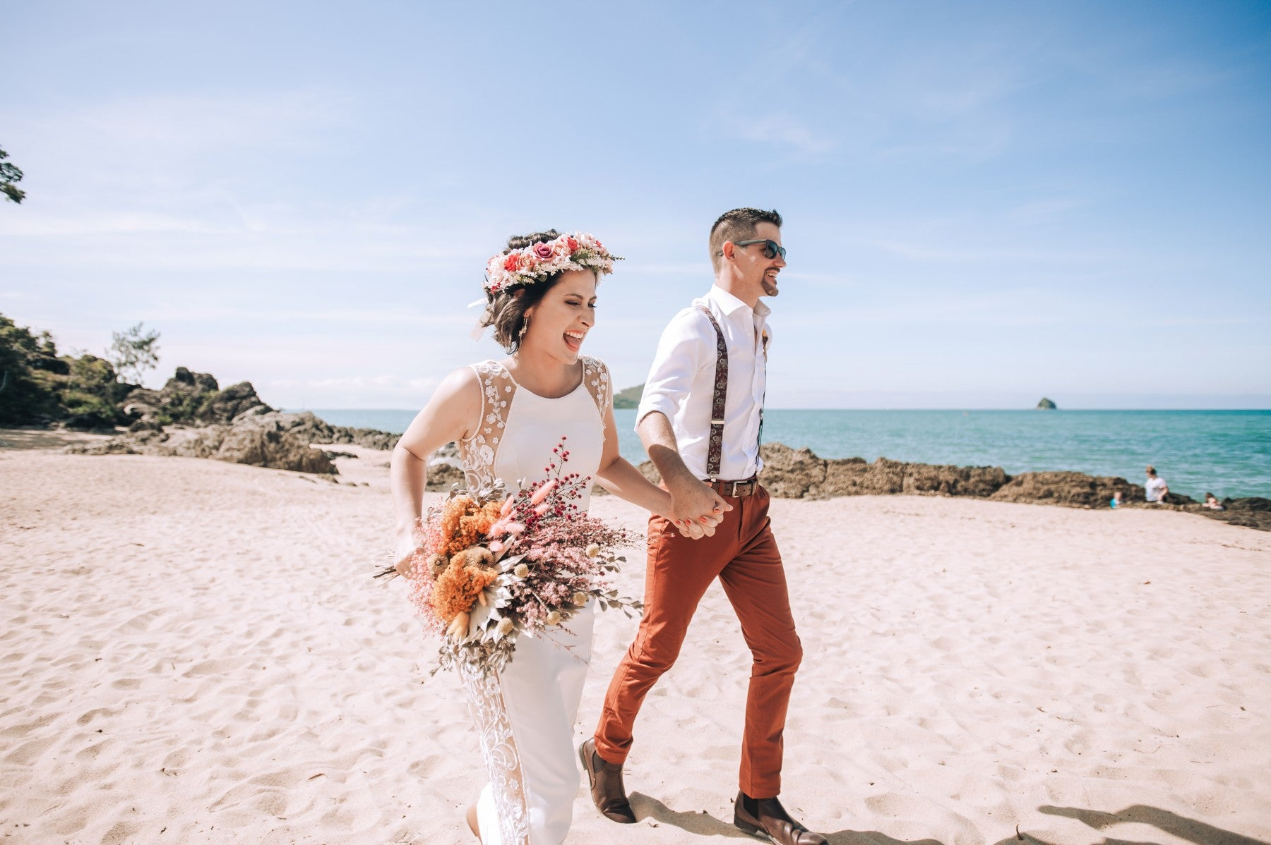 Couple is having fun at their wedding day