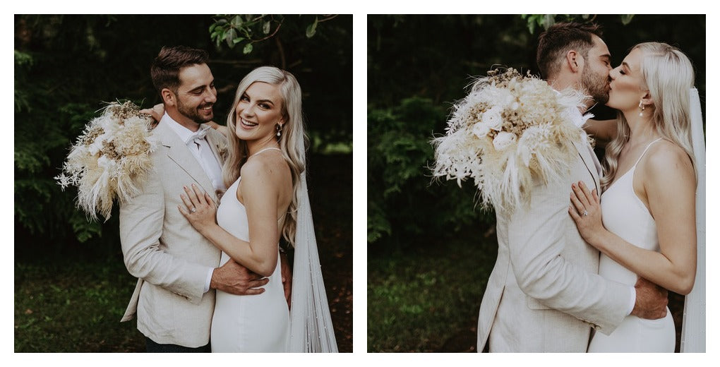 Wedding day photos with beautiful flowers
