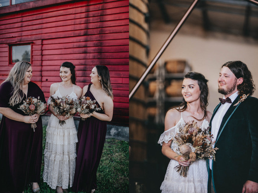 wedding photos with dried flowers