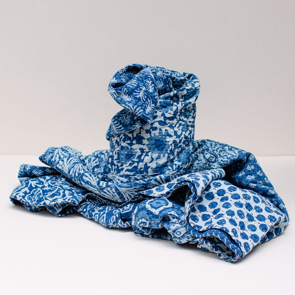 The Throw Co | Patchwork Blue Kantha Throw