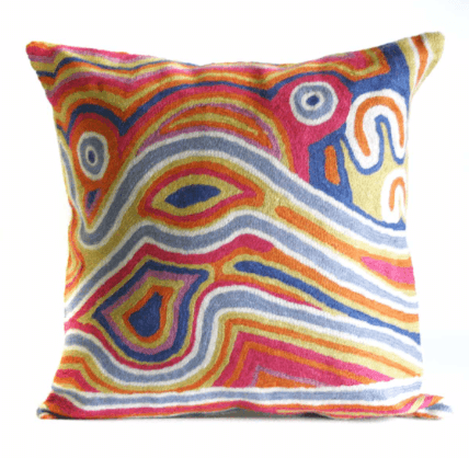 Better Worlds Art | Hand Stitched Woollen Cushion Cover