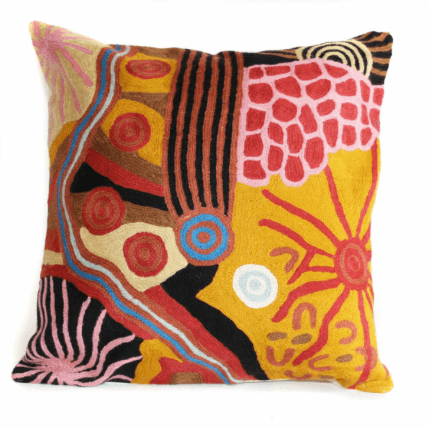 Better Worlds Art | Hand Stitched Woollen Cushion