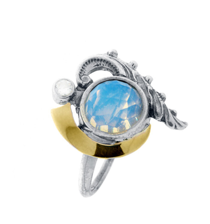 Opal stone handmade designed ring with feature 925 sterling silver