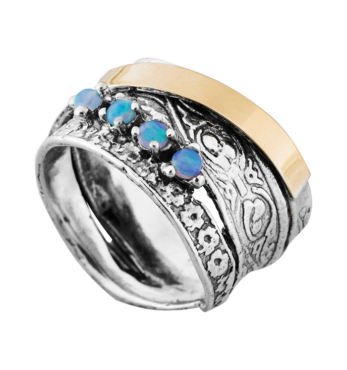 Blue Created Opal Gold and Silver Ring