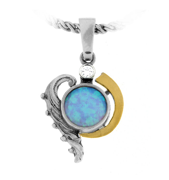 Blue Created Opal Round Gold and Silver Necklace