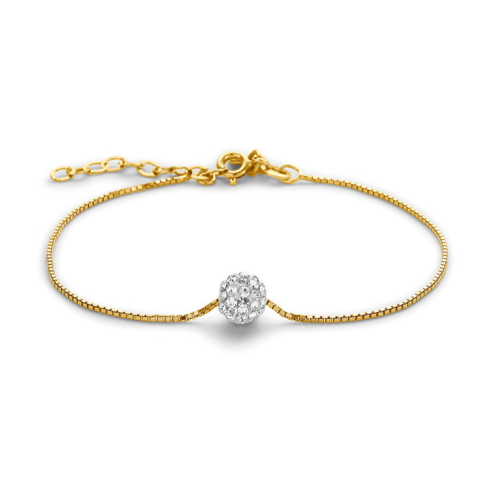 Glitter Ball Bracelet made with Premium Zirconia - Gold