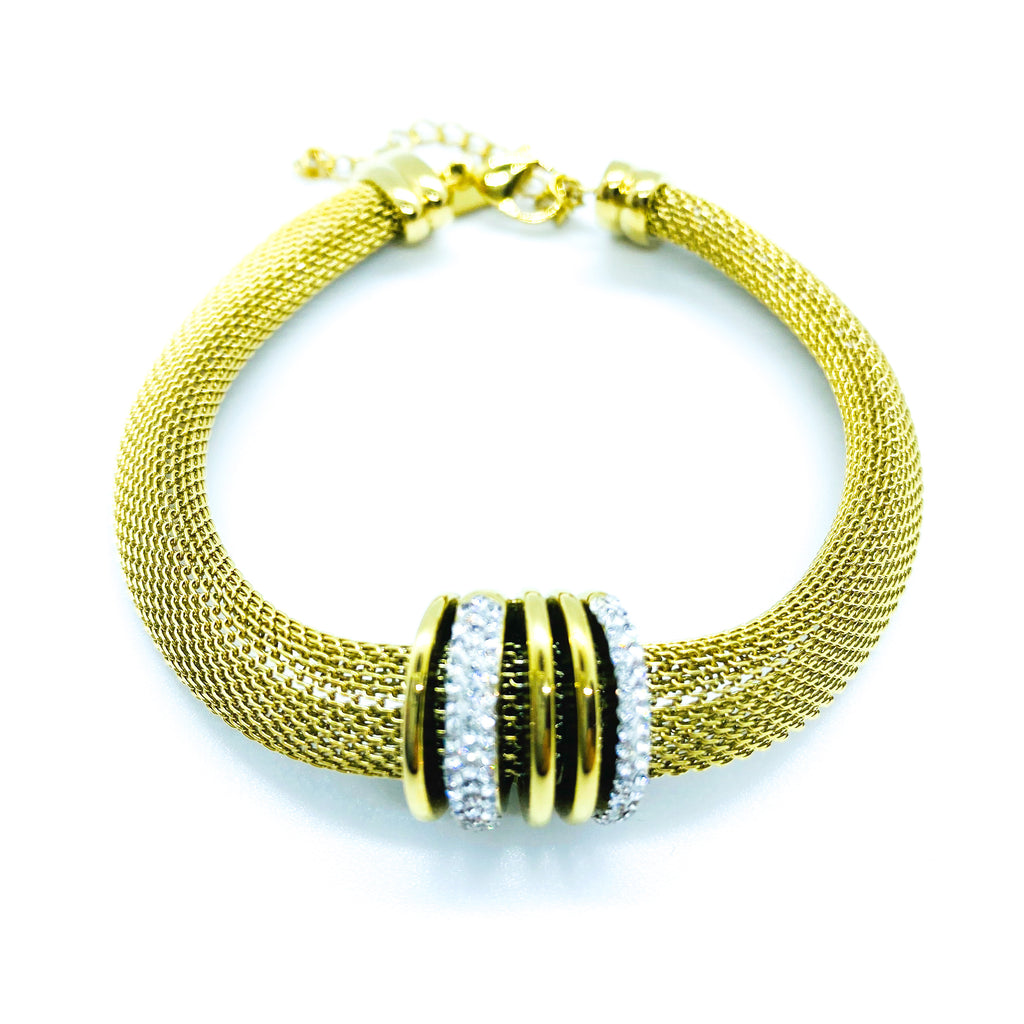 Gold Thick Crystal Chain Bracelet