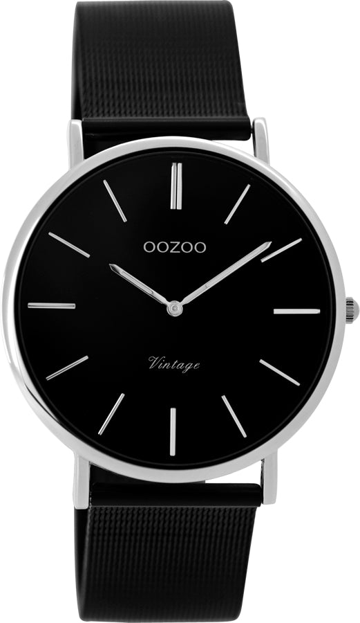 OOZOO Vintage Black and Silver Watch