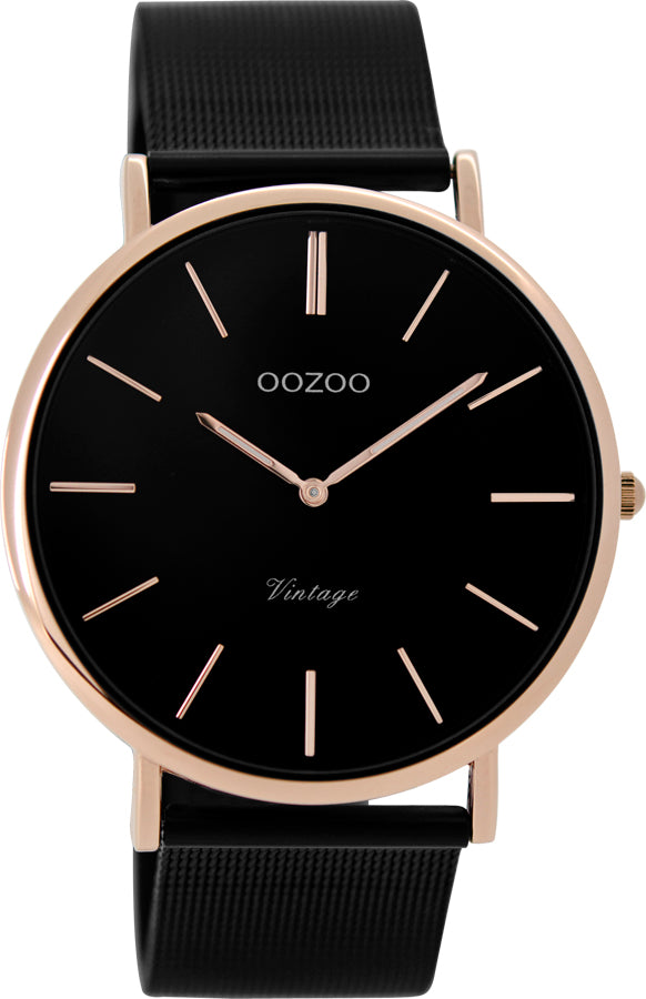 OOZOO Vintage Black and Rose Gold Watch
