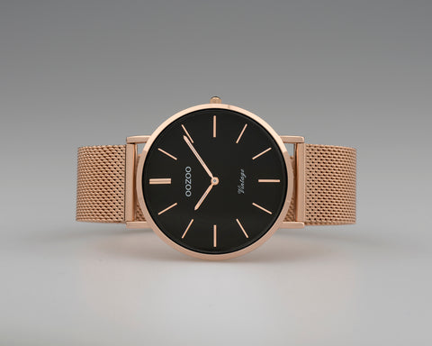 OOZOO Vintage Grey and Rose Gold Watch