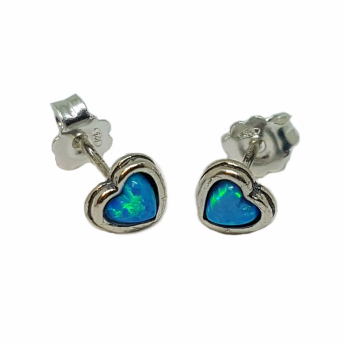 Blue Created Opal Silver Stud Earrings Heart Shape