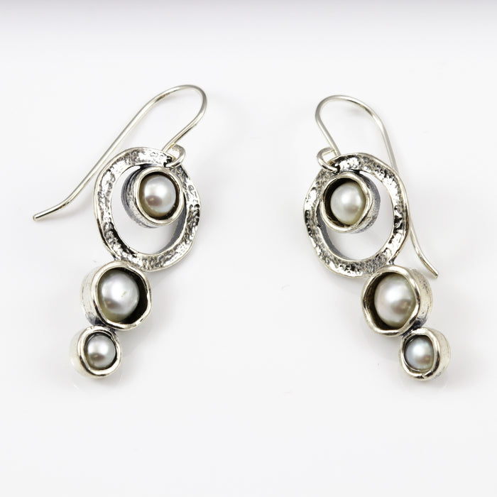 Pearl Trio Round Drop Earrings
