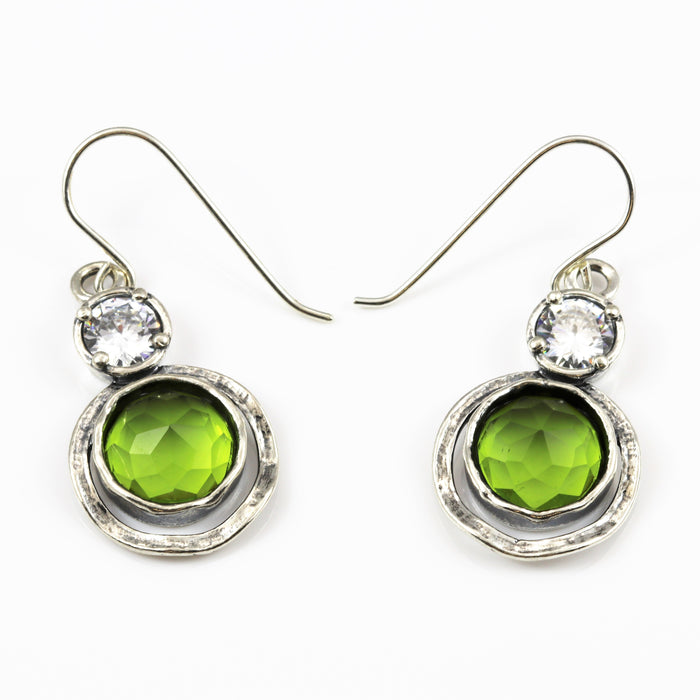 Peridot Double Circle Silver Earrings