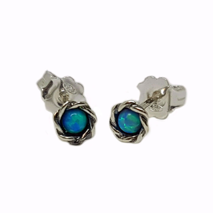 Blue Created Opal Silver Stud Earrings Round Shape