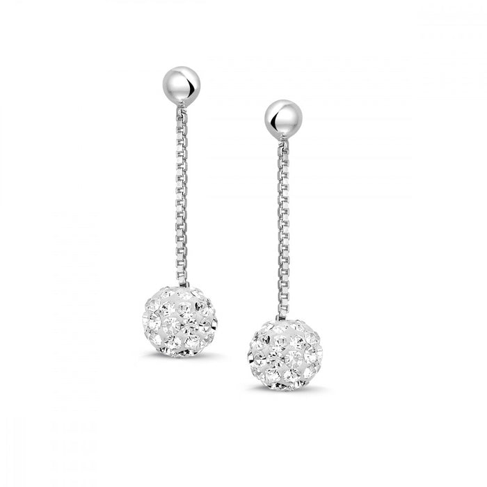 Glitter Ball Drop Earrings made with Premium Zirconia
