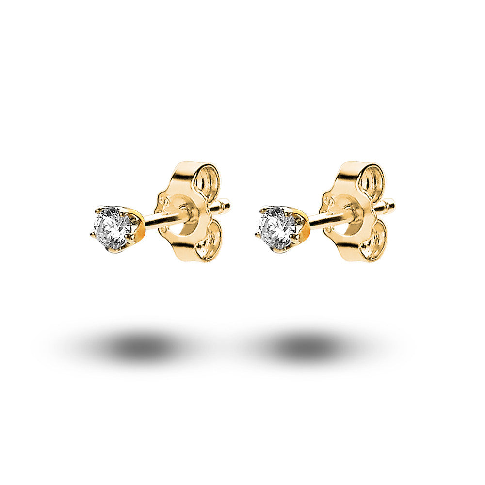 Solitaire Studs (3mm) made with Premium Zirconia - Gold
