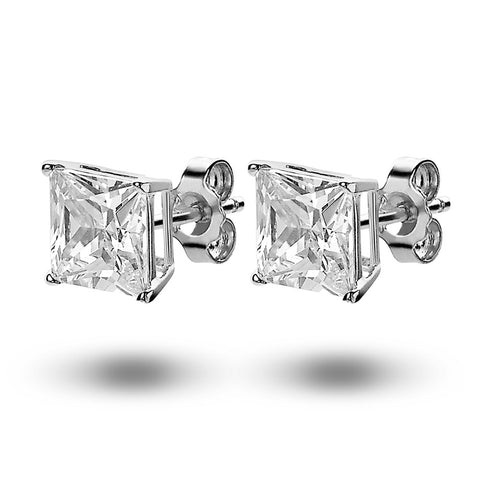Large Princess Cut Square Studs (8mm) made with Premium Zirconia