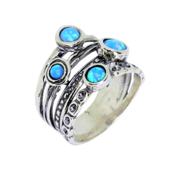 Blue Created Opal Silver Ring with 4 Round Stones