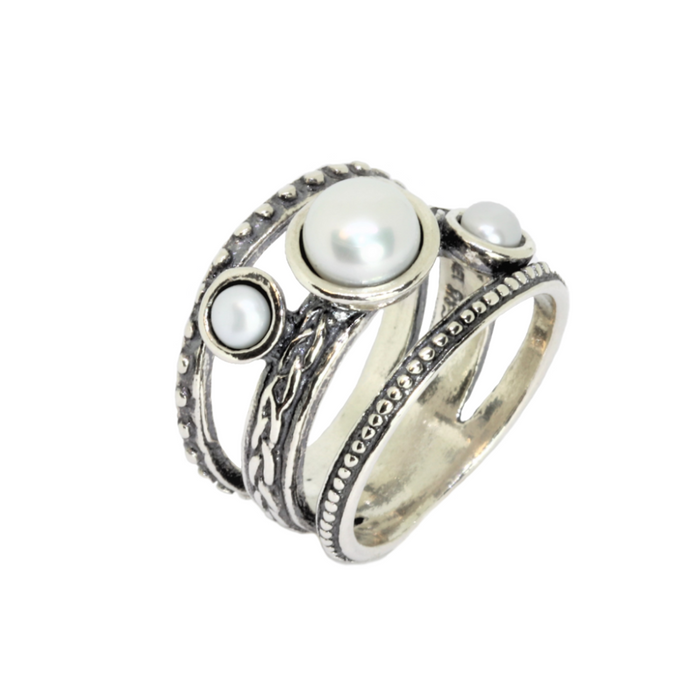 Pearl Silver Ring with 3 Pearls