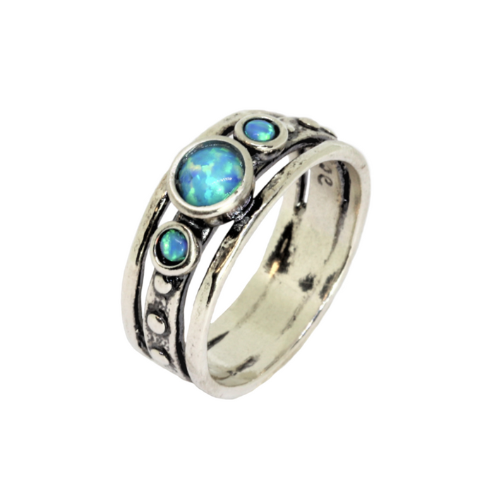 Blue Created Opal Silver Ring with 1 Large and 2 Smaller-Sized Round Stones