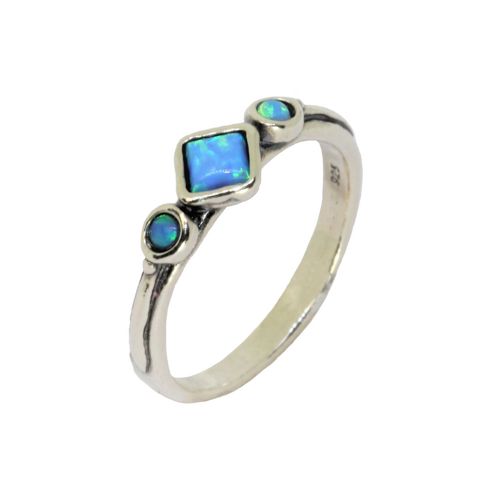 Blue Created Opal Handcrafted Silver Ring with Square and Round Stones
