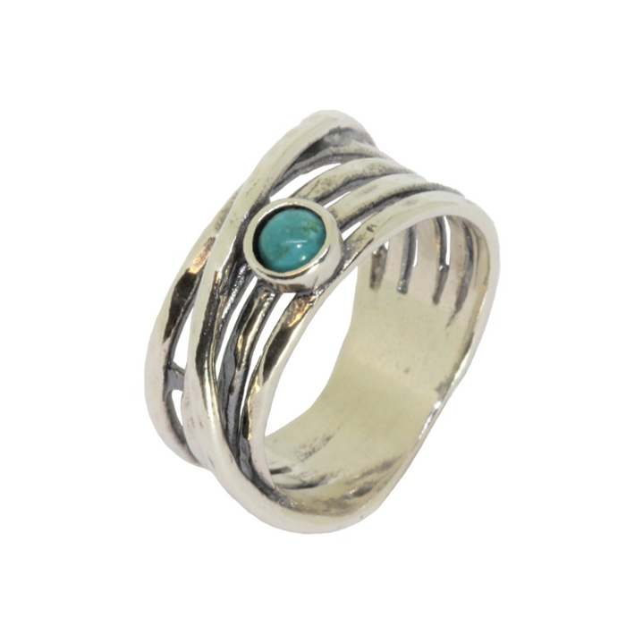 Turquoise Silver Ring with Round Stone
