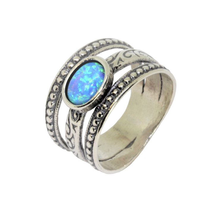 Blue Created Opal Silver Ring with Oval Stone