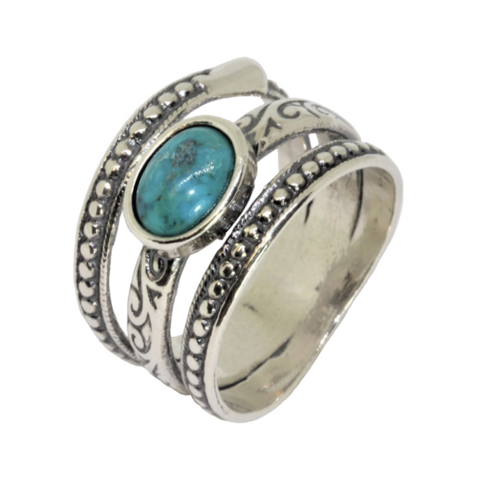 Turquoise Silver Ring with Oval Stone