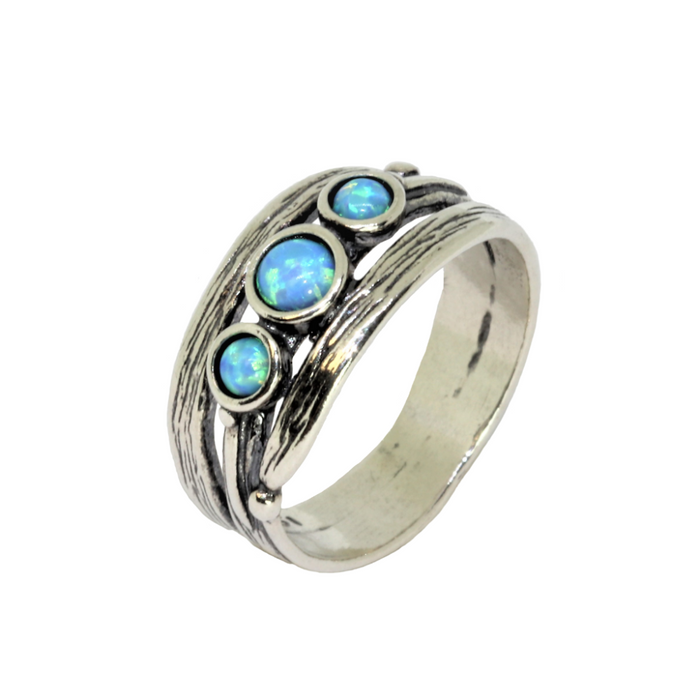 Blue Created Opal Handcrafted Silver Ring with 3 Round Stones