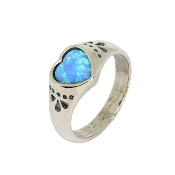 Blue Created Opal Silver Ring with Heart Stone