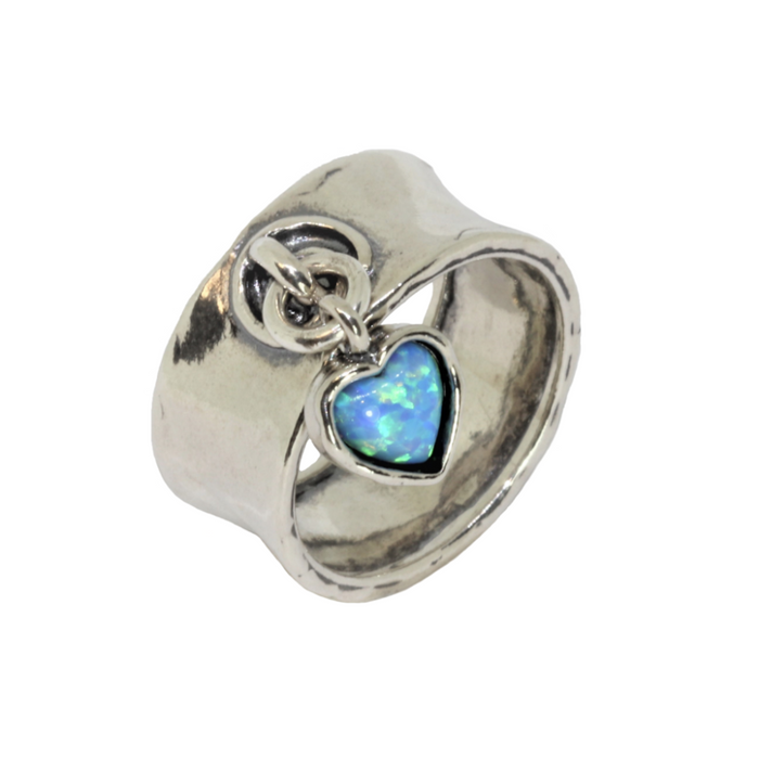 Blue Created Opal Silver Ring with Heart Stone Pendant