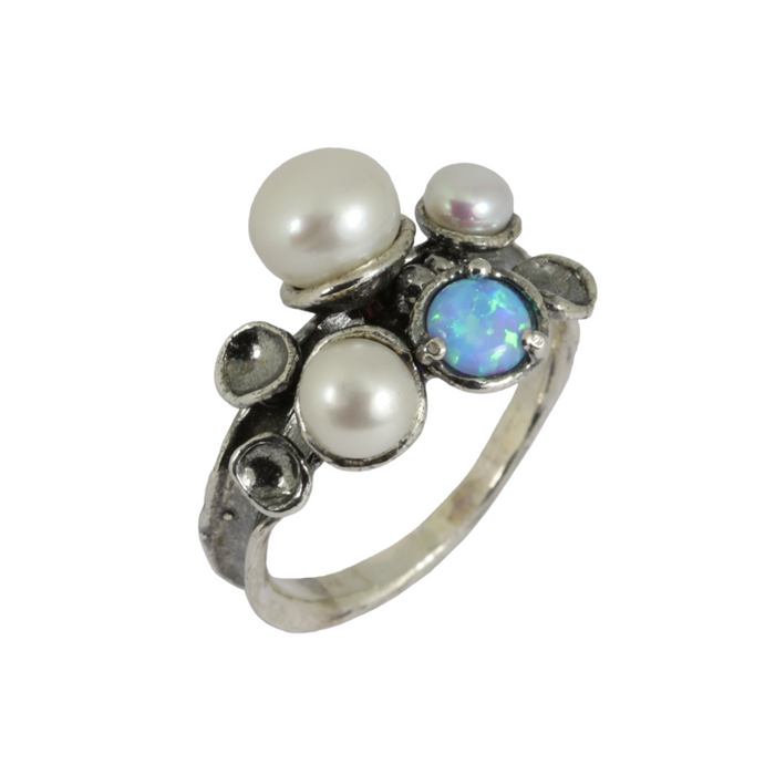Blue Created Opal and Pearls Silver Ring