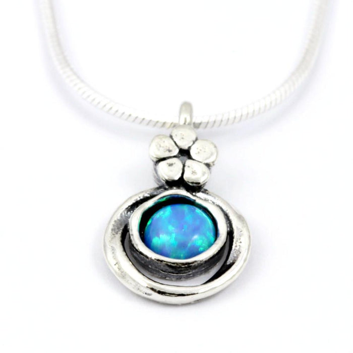 Blue Created Opal Round Silver Necklace