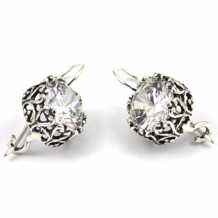 Clear Zirconia Silver Earrings
