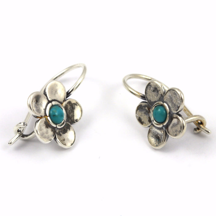 Turquoise Flower Silver Earrings