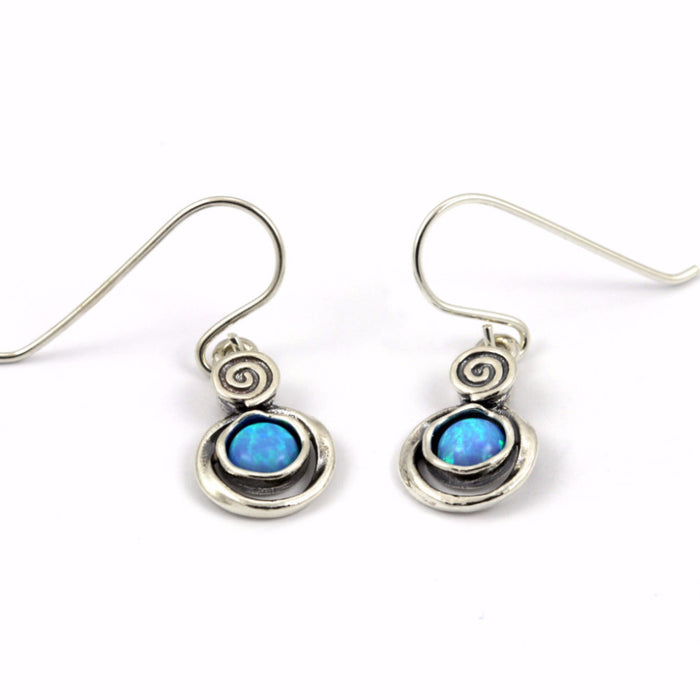 Blue Created Opal Silver Drop Earrings
