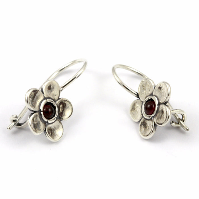 Garnet Flower Silver Earrings