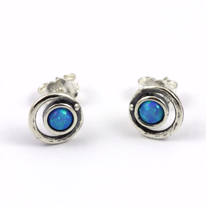 Blue Created Opal Round Silver Stud Earrings