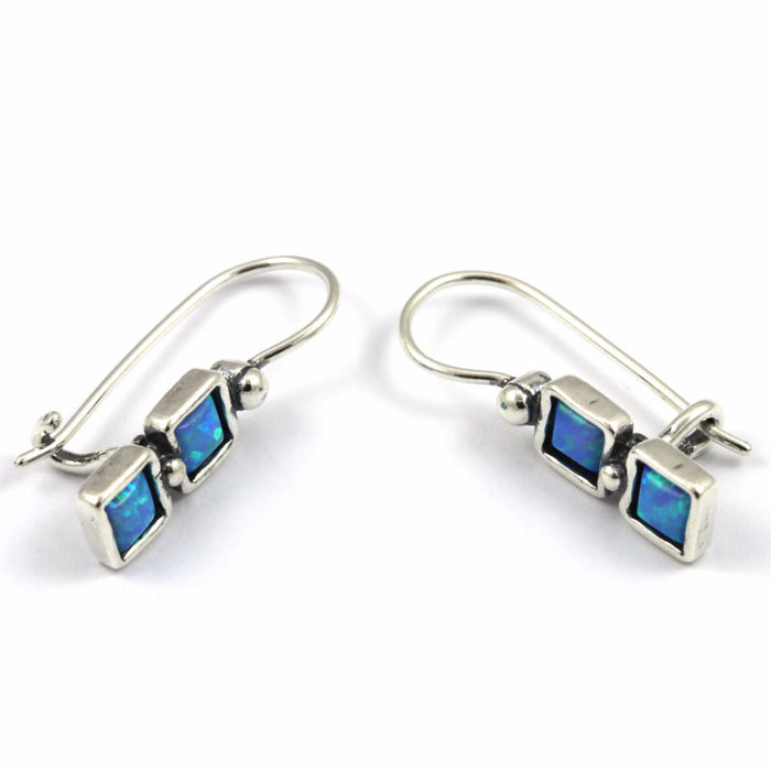 Blue Created Opal Double Square Silver Earrings