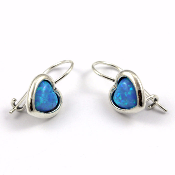 Blue Created Opal Silver Earrings Heart Shape
